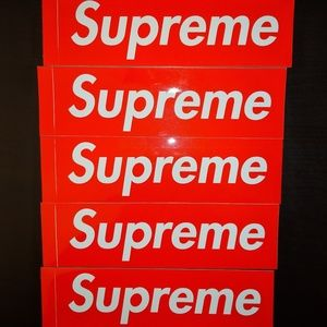 5 classic red box logo stickers